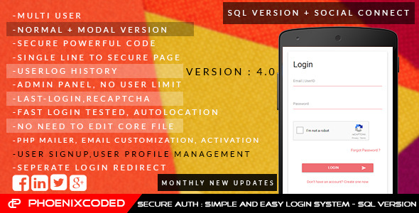 Secure auth:Simple and Easy login sys- SQLVersion
