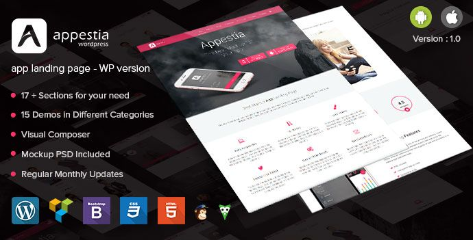 Appestia app landing page WordPress version