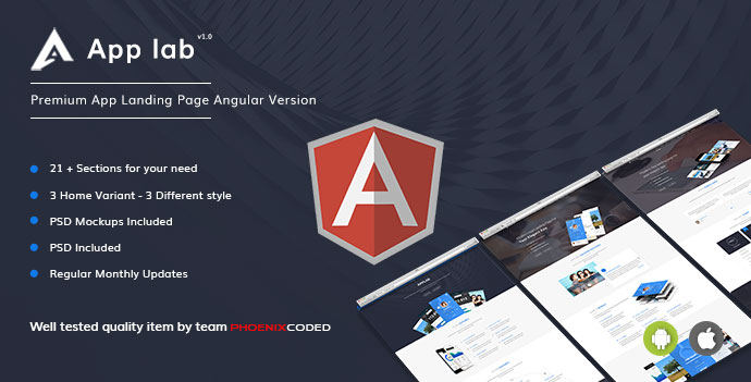 AppLab – Premium App Landing Page Angular Version